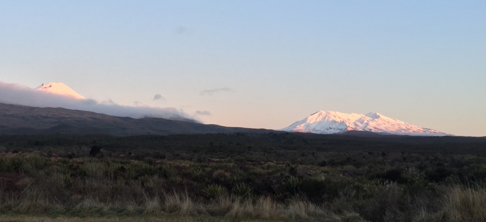 Mt Ngauruhoe and Mt Ruapehu at sunset.